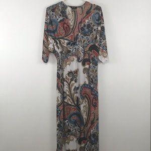 5th & Love   maxi dress paisley boho blue red XL